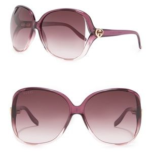 GUCCI Heart Logo Oversized Square Sunglasses 60mm